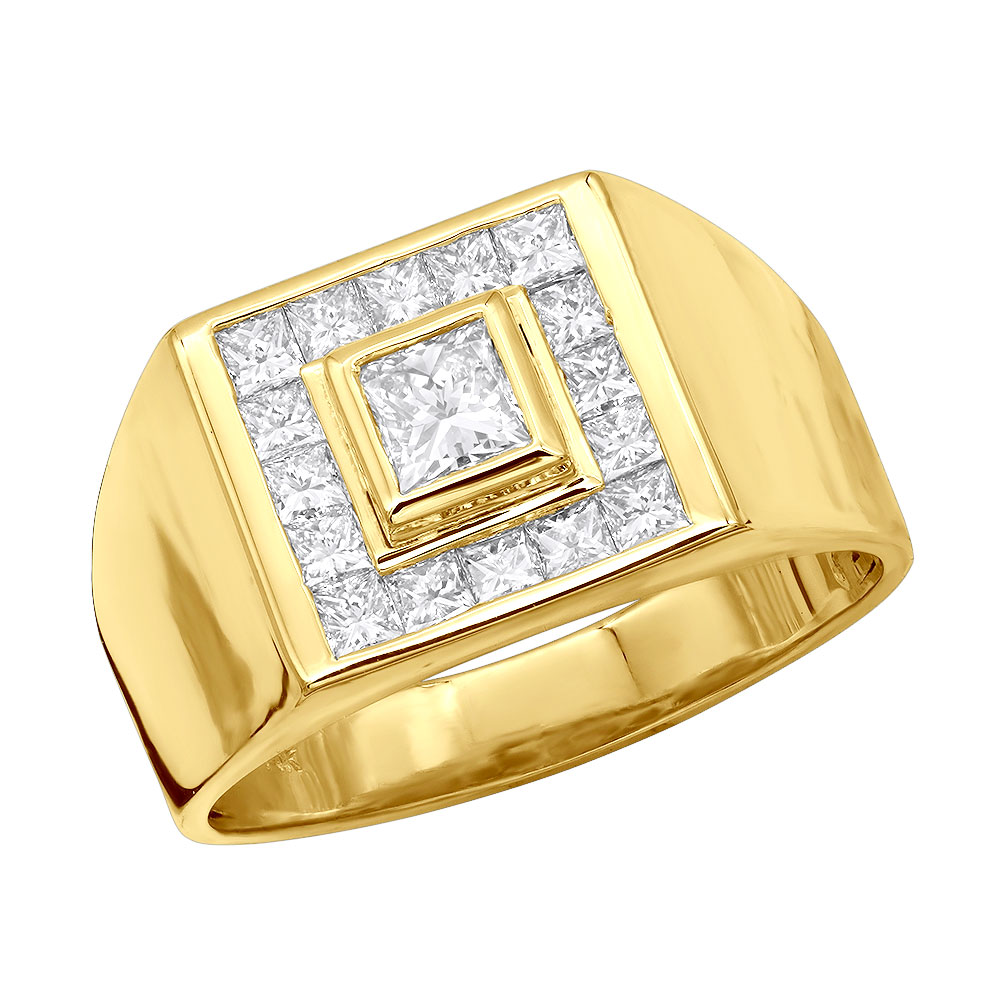 14K Gold Men's Princess Diamonds Ring 1.62ct Main Image