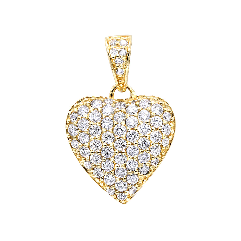 14k Gold Pave Diamond Heart Pendant 1ct Yellow Image