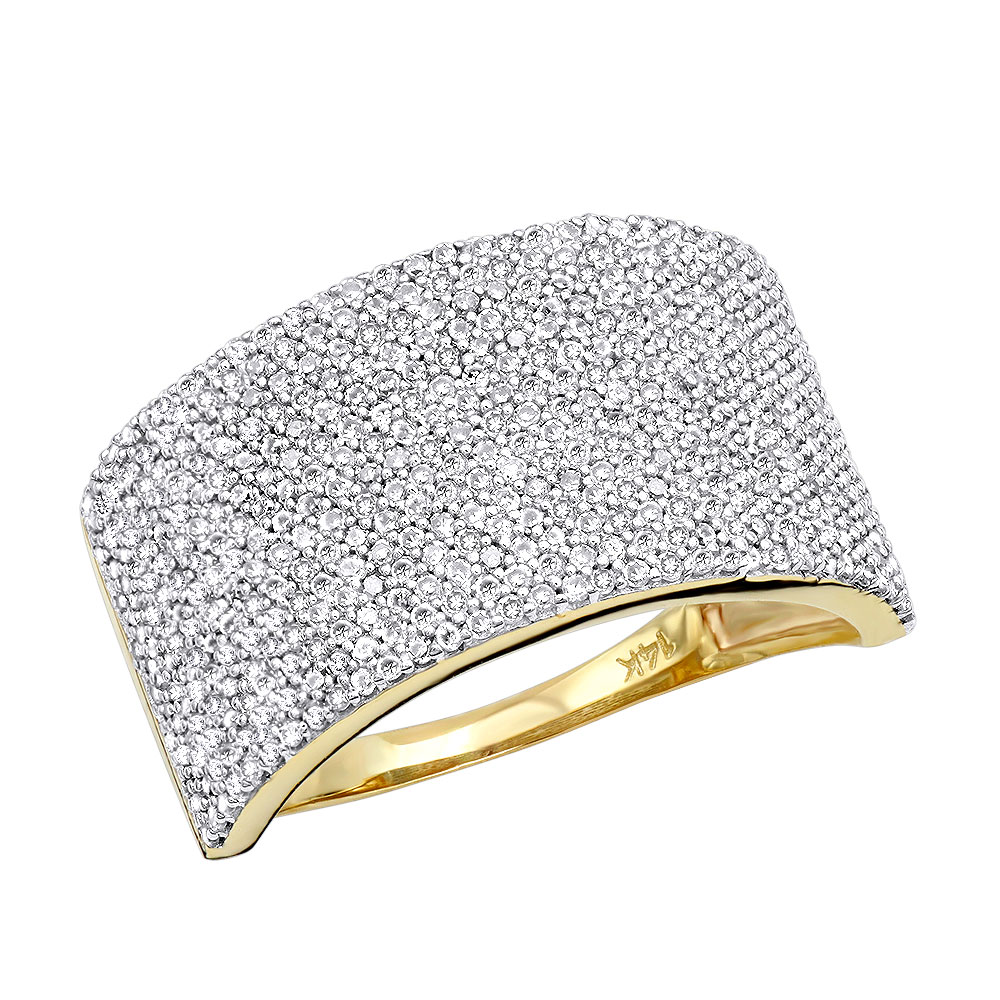 14K Gold Pave Diamond Wedding Band 1.26ct Yellow Image