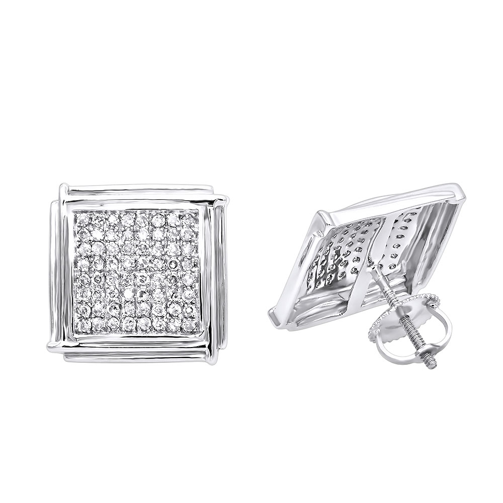 14K Gold Pave Round Diamond Earrings 0.72ct White Image