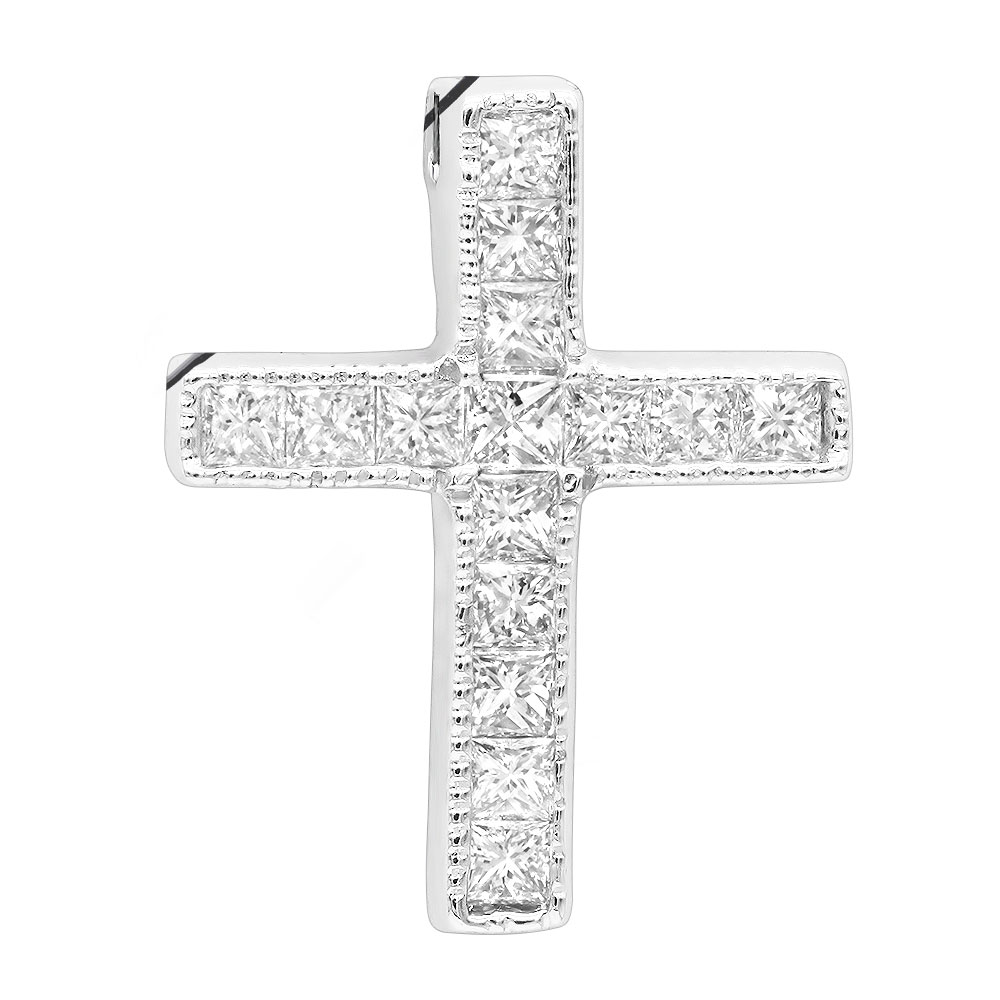 14K Gold Princess Cut Diamond cross necklace 0.7ct Main Image