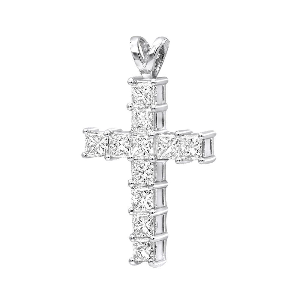 14K Gold Princess Cut Diamond Cross Pendant 2.20ct