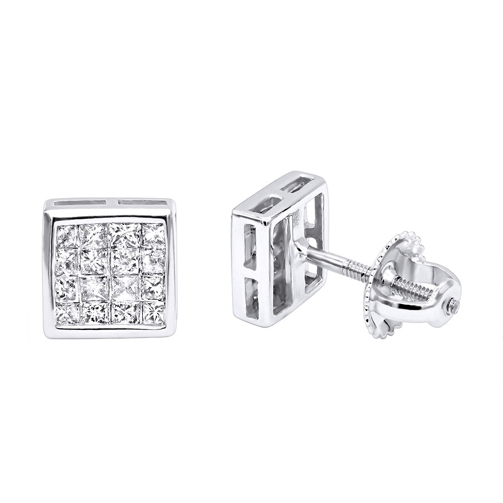 14K Gold Princess Cut Diamond Stud Earrings 0.54ct White Image