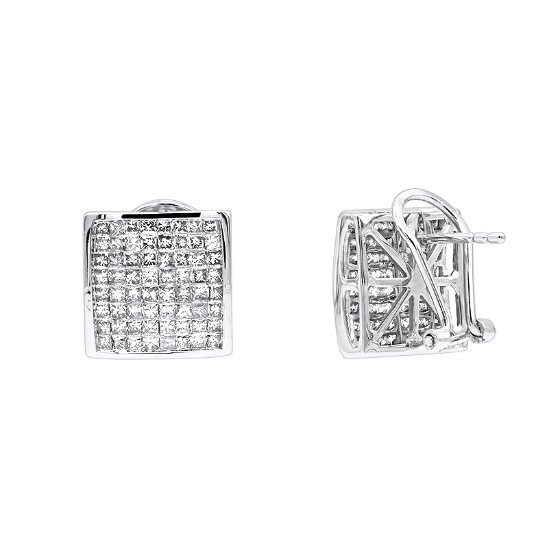 14K Gold Princess Cut Diamond Stud Earrings 2.3ct White Image