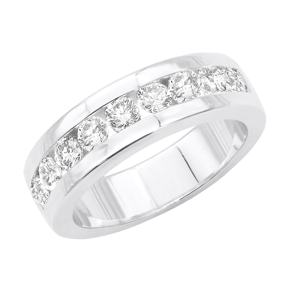 14K Gold Round Diamond Men's Wedding Ring 1.08ct Main Image