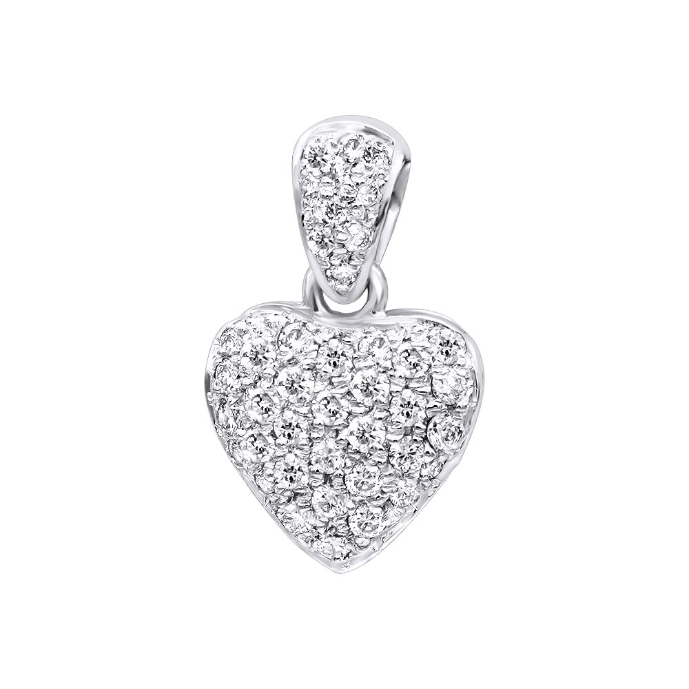 Small 14k Gold Round Diamond Pave Heart Pendant for Women 0.33ct White Image