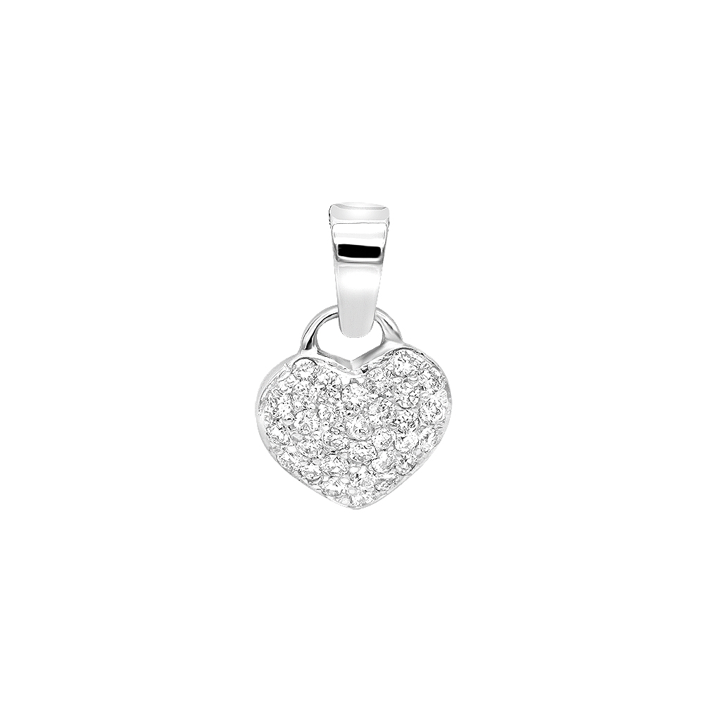 14k Gold Round Diamond Pave Heart Pendant 0.50ct Main Image