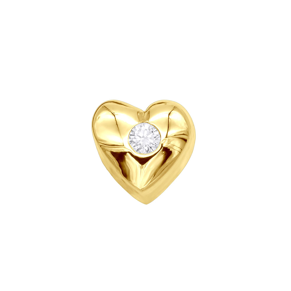14k Gold Round Diamond Puffed Heart Pendant 0.03ct Yellow Image