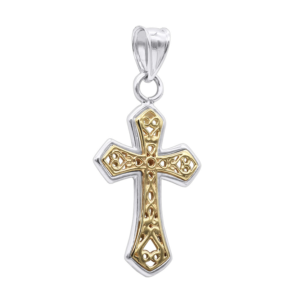 Vermeil Jewelry 14K Gold Sterling Silver Diamond Celtic Cross Pendant White Image