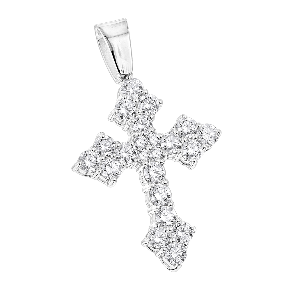 14K Gold Womens Diamond Cross Pendant 2.12ct White Image