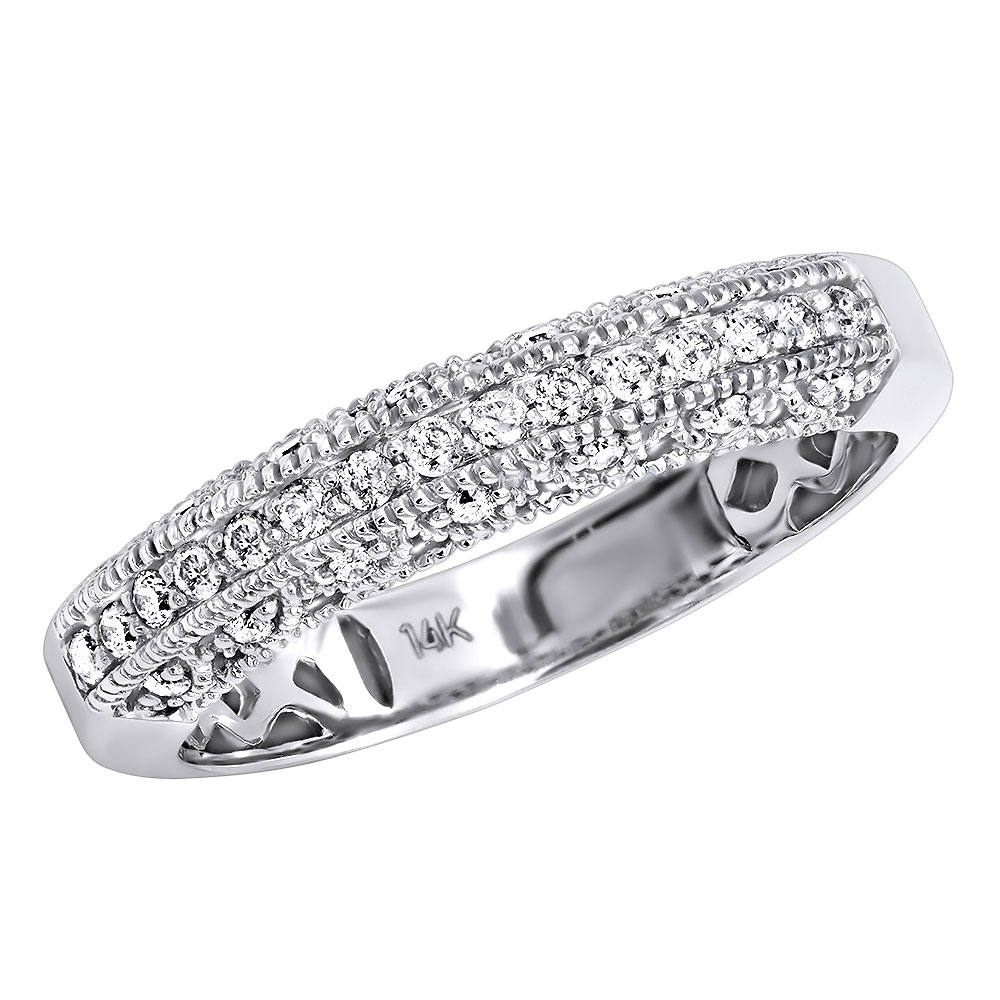 14K Gold Womens Diamond Wedding Band Milgrain .33ct White Image