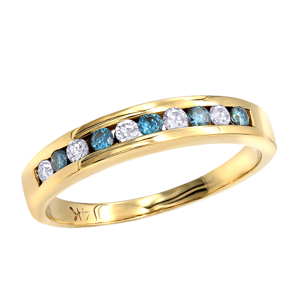 Thin 14K Gold Womens White Blue Diamond Ring 0.15ct Yellow Image