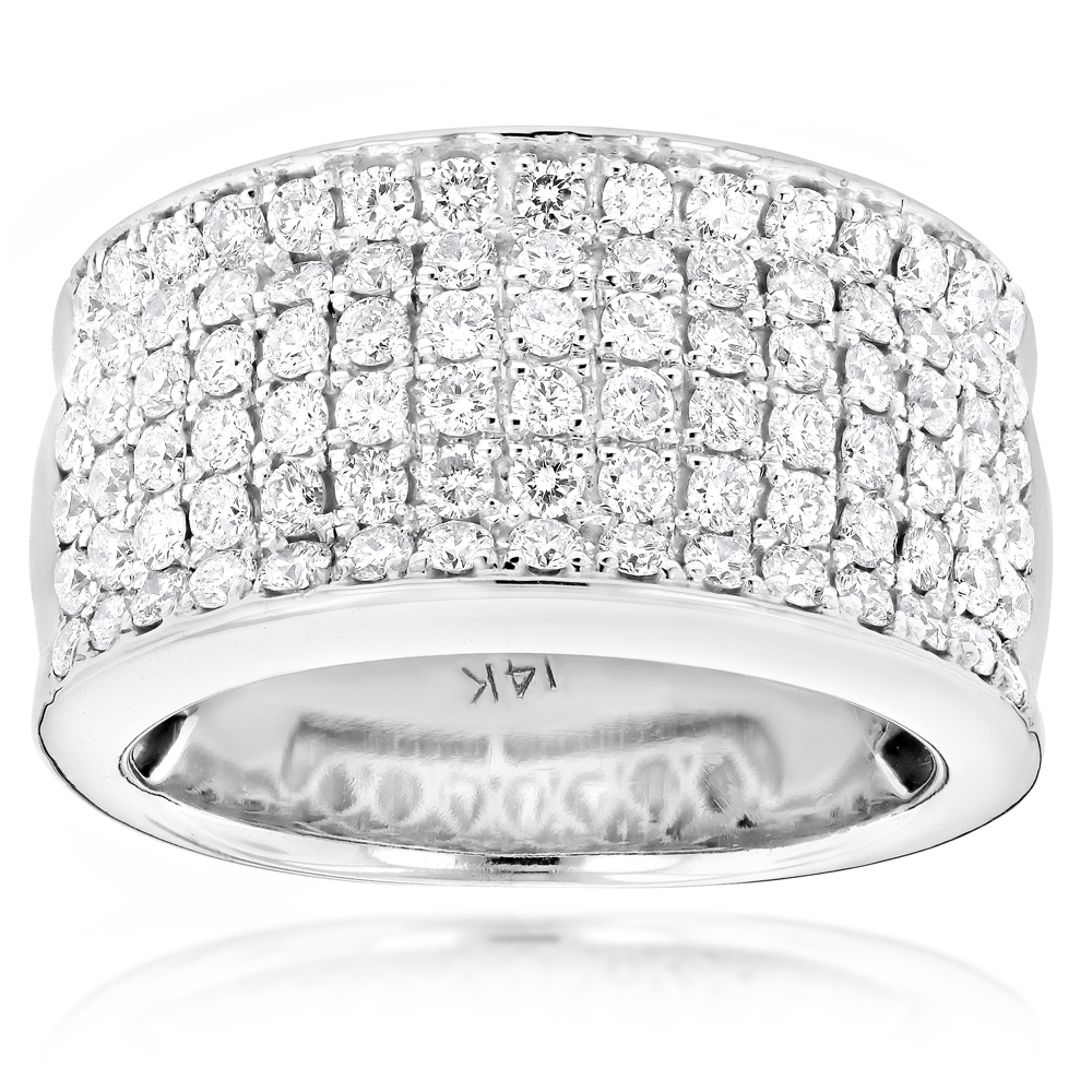 14k gold mens designer diamond wedding band 205ct - Mens Diamond Wedding Rings