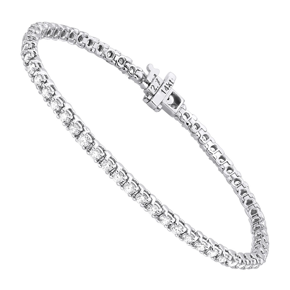 14K Gold Round Diamond Tennis Bracelet for Women 3.55ct with 4 Prong Setting White Image