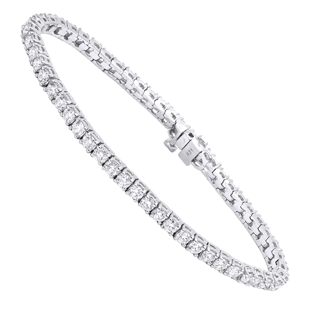 14K Gold Round Diamond Tennis Bracelet 5ct White Image