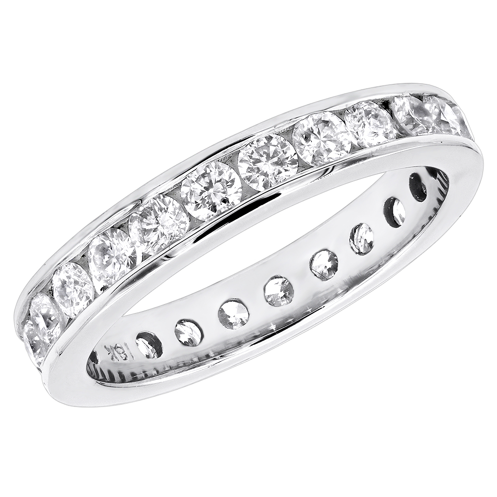 Thin 18K Gold Diamond Eternity Band 1.25ct White Image