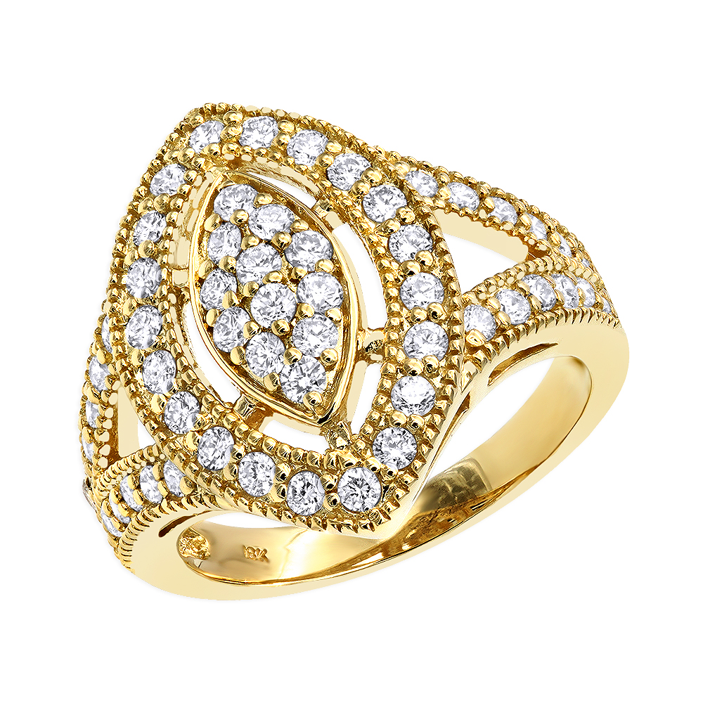 18K Gold Diamond Right Hand Ring for Women Tear Drop Shape 1.08ct Yellow Image