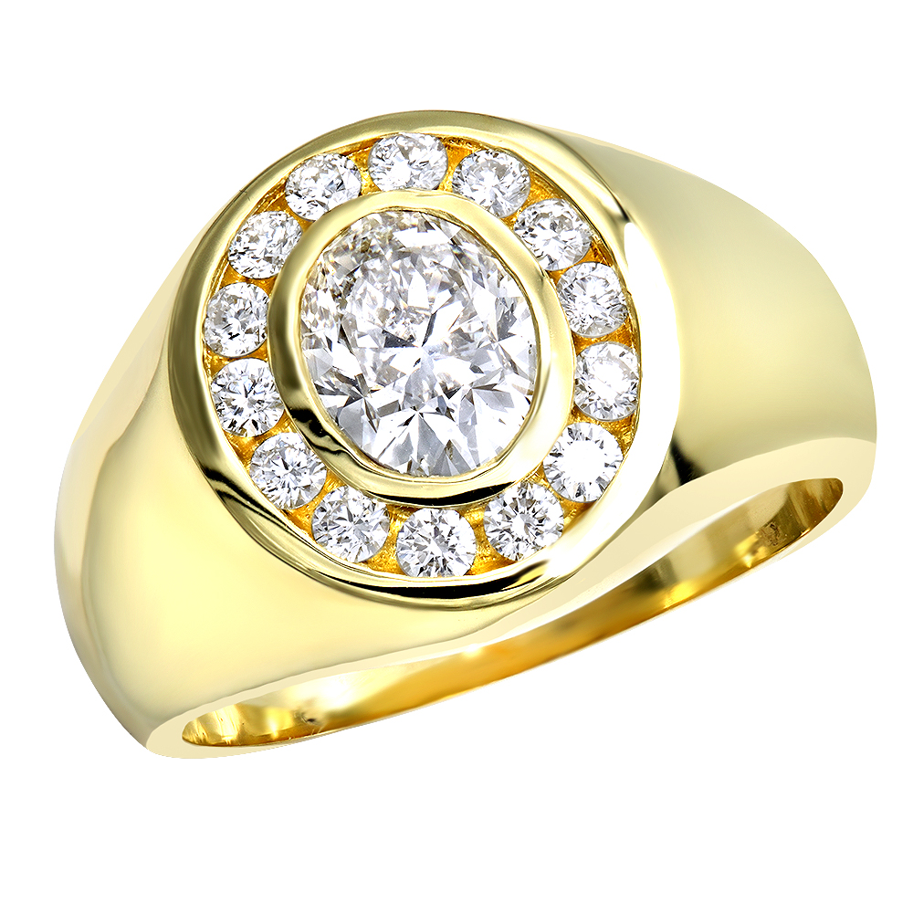 18K Gold Men's Round & Oval Diamonds Ring 2.06ct Main Image