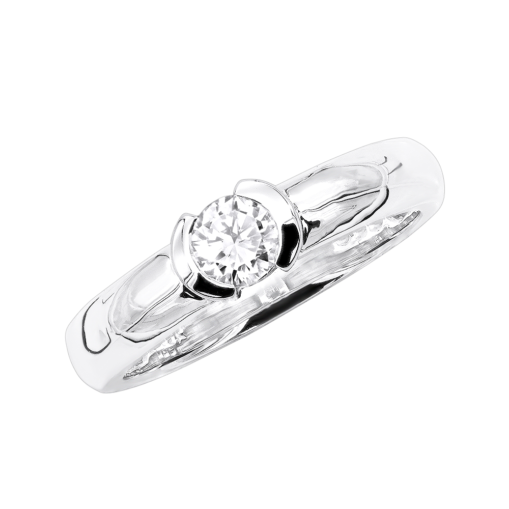 Thin 18K Gold Round Diamond Ladies Ring 0.30ct