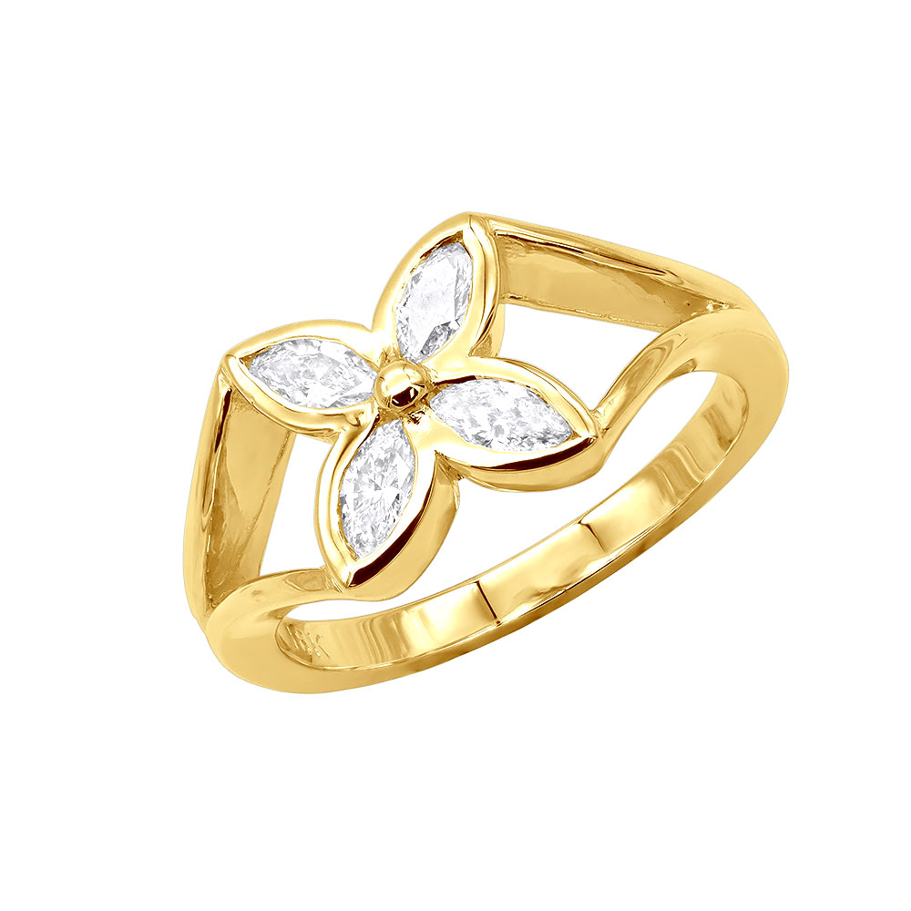 18K Gold Womens Diamond Ring Flower Design 0.6ct Main Image