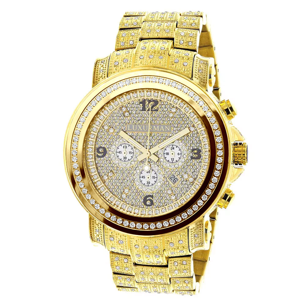 18k Yellow Gold Pltd Fully Iced Out Large Mens Diamond Watch Luxurman Escalade 48mm 3.5ct Main Image