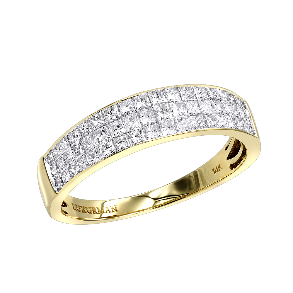Invisible Princess Cut Diamond Wedding Band for Men 1.33ct 14K Gold