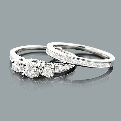 Three Stone Diamond Engagement Ring Set 1.16ct 14K Gold