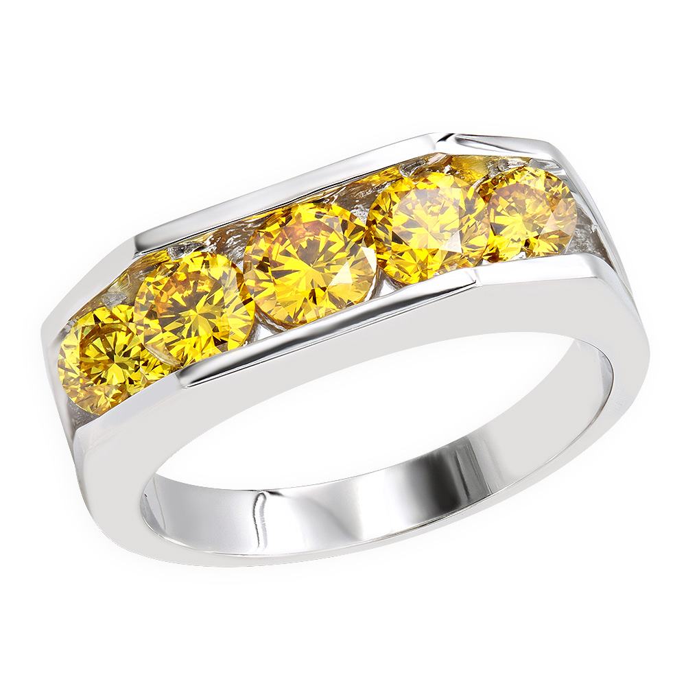 Unique Anniversary Bands: 5 Stone Mens Yellow Diamond Ring 18K Gold 2.45ct Main Image