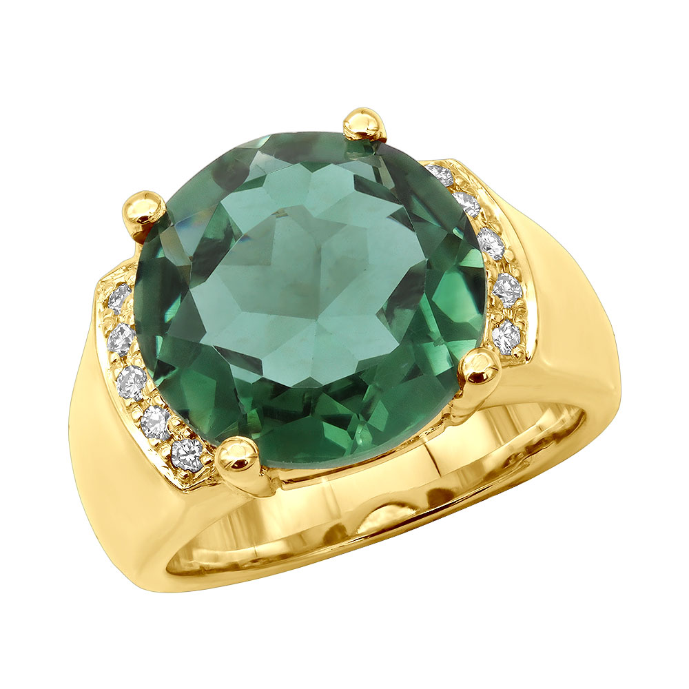 6 Carat Green Emerald Diamond Ring 14K Gold 0.15ct Main Image