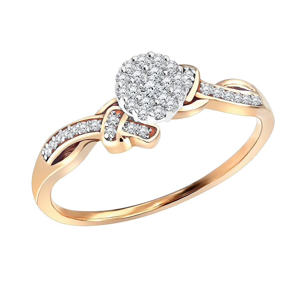 Affordable 14K Gold Cluster Diamond Engagement Ring 0.21ct Promise Ring Main Image