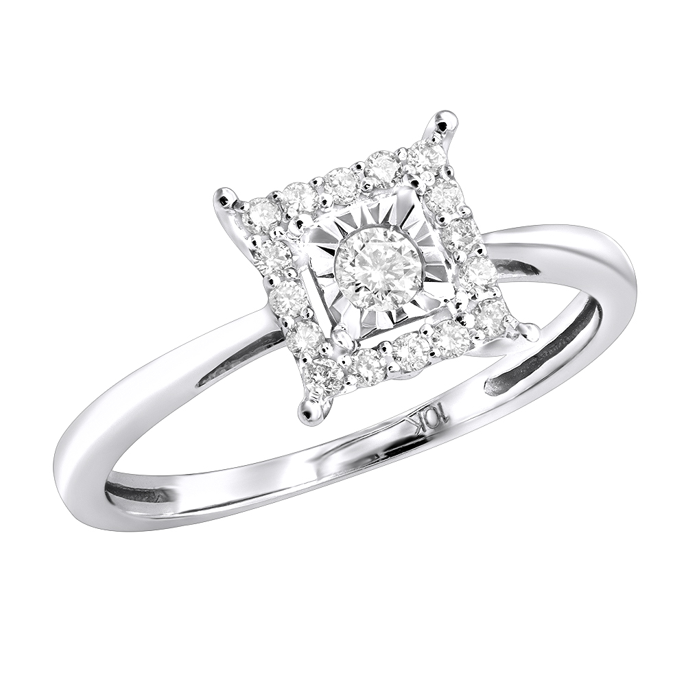 Affordable Diamond Engagement Ring 10K 1 Carat Look White Image