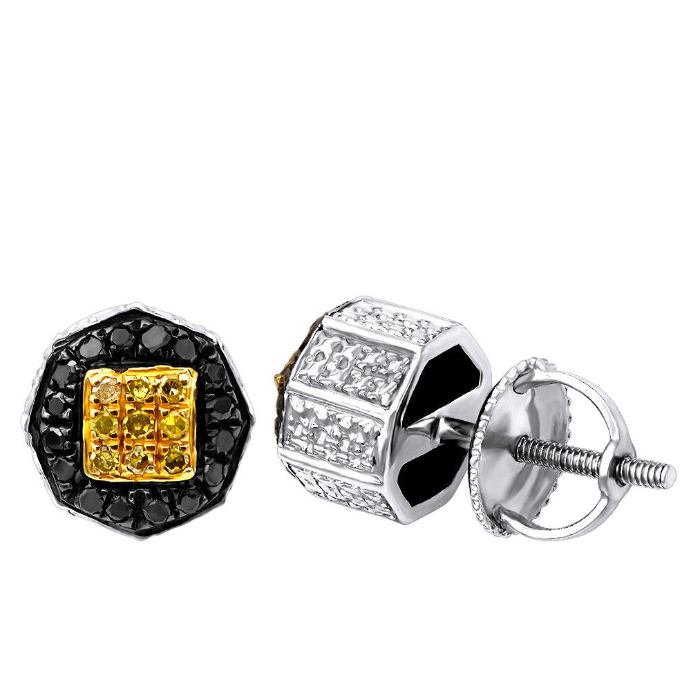 Black and Yellow Diamond Button Earrings 0.35ct Silver White Image