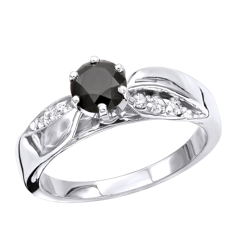 Thin Black Diamond Engagement Ring 0.74ct 14K Gold White Image