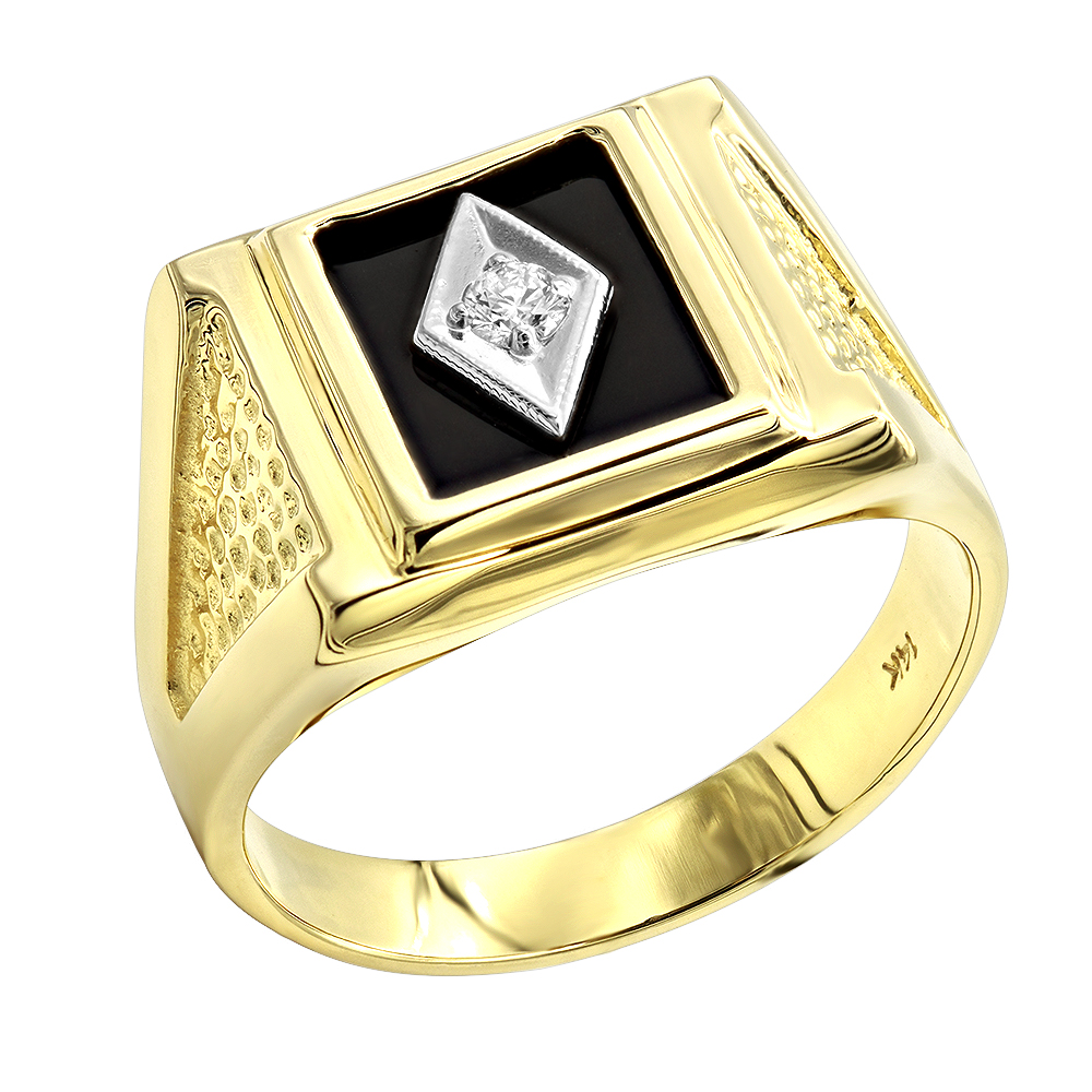black onyx and diamond rings 14k gold mens ring 010ct