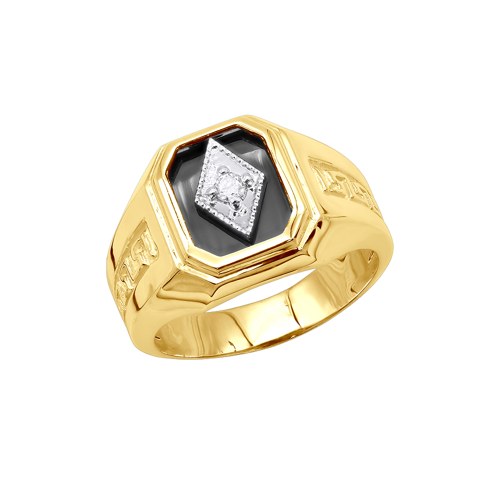 Black Onyx and Diamond Rings 14K Gold Mens Ring 0.10ct Main Image