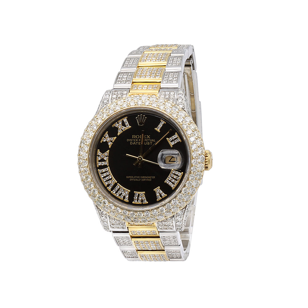 Bust Down Watches Iced Out Mens Diamond Rolex Watch DateJust 36mm Yellow Gold Bezel Main Image