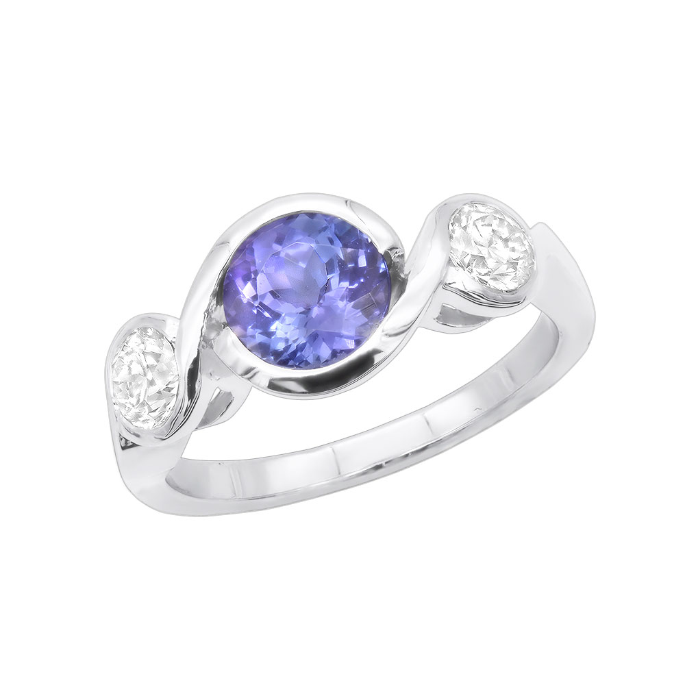 Unique Round Cut Tanzanite and Diamond Engagement Ring 18K White Gold Main Image