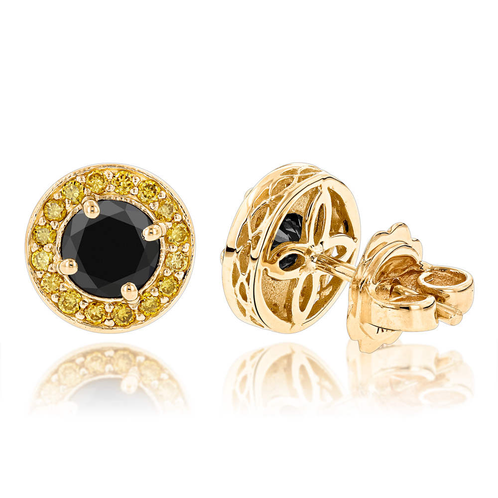 Designer 14K Yellow Black Diamond Stud Earrings 1.92ct Main Image