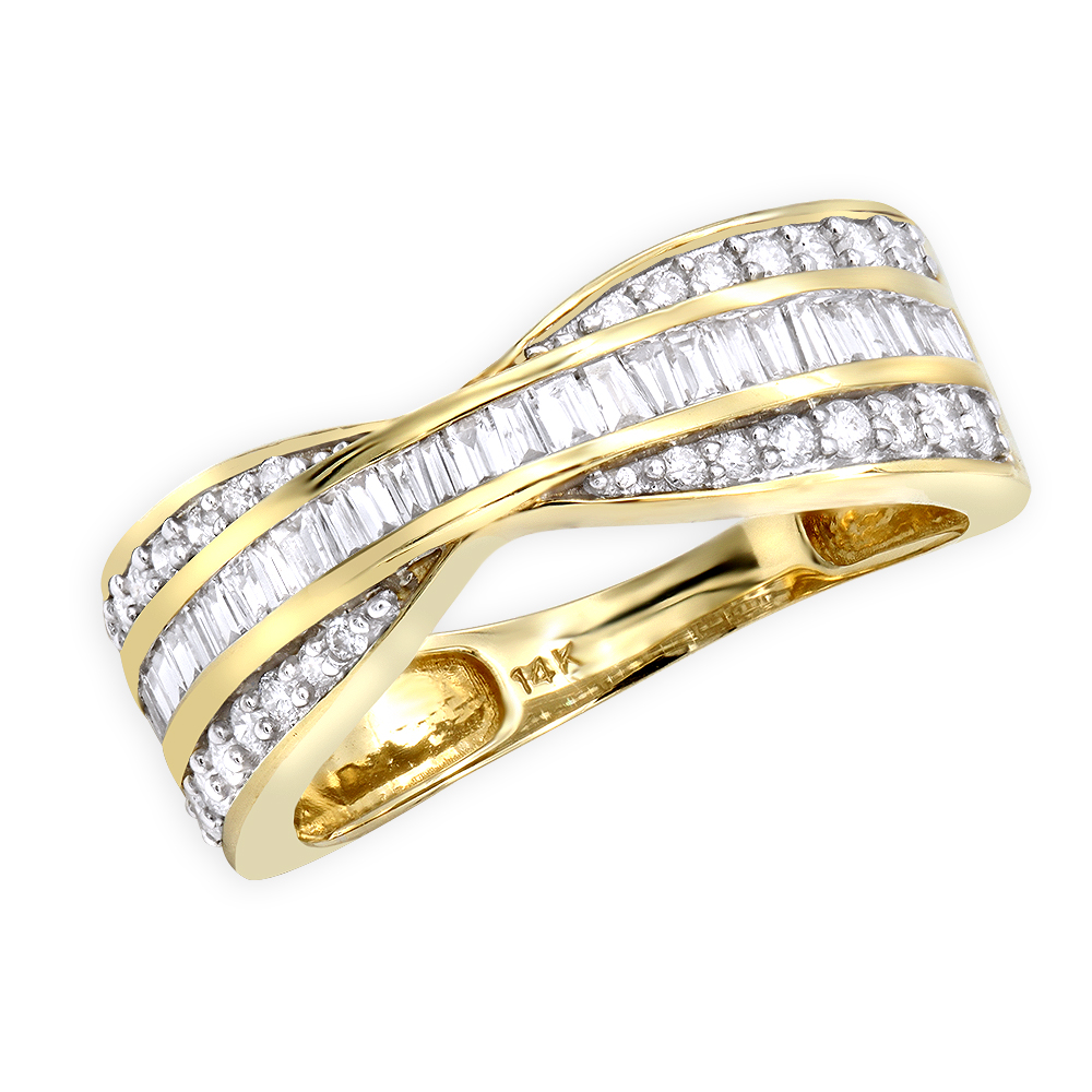 Designer Diamond Bands 14K Gold Ladies Diamond Ring 0.65ct Yellow Image