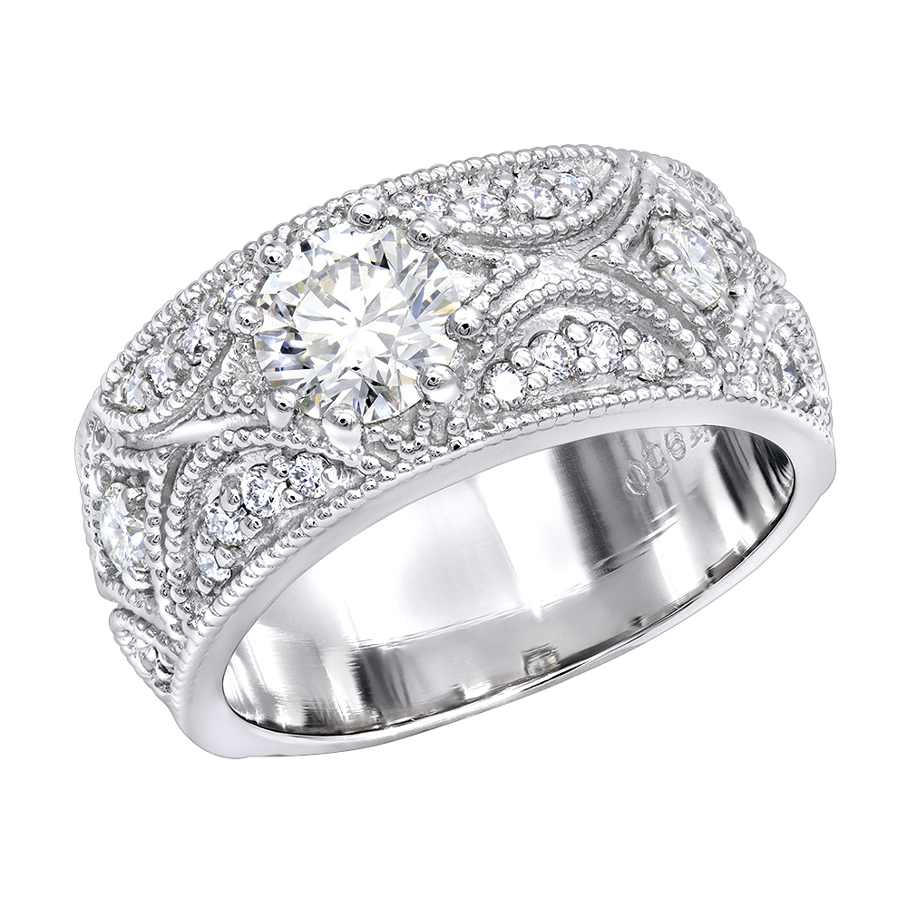 Designer Platinum Diamond Engagement Ring Antique Style 1.25ct White Image