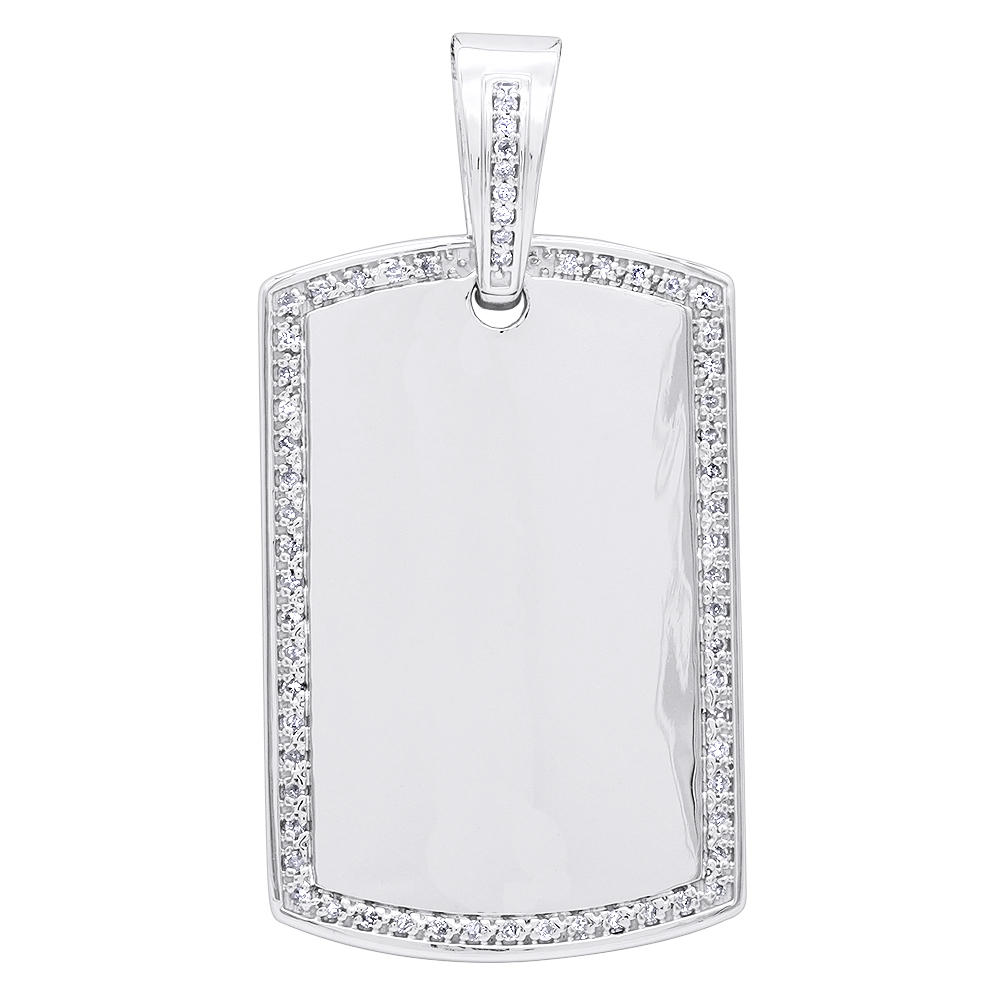 Diamond Dog Tag Pendant in Sterling Silver 0.48ct White Image
