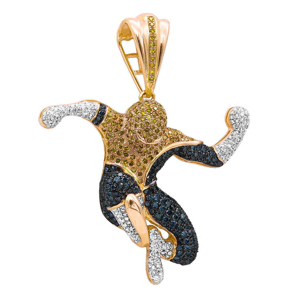 Real White Blue Yellow Diamond Spider-man Pendant in 10K Gold 3ct Main Image
