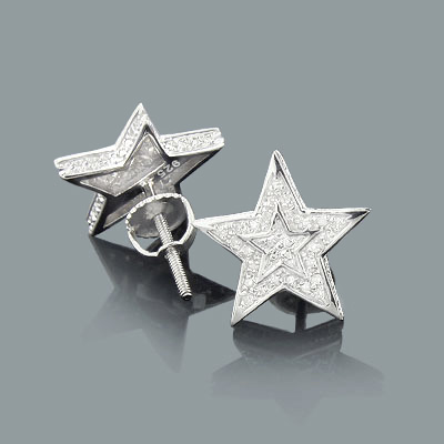 diamond star earrings sterling silver. Black Bedroom Furniture Sets. Home Design Ideas
