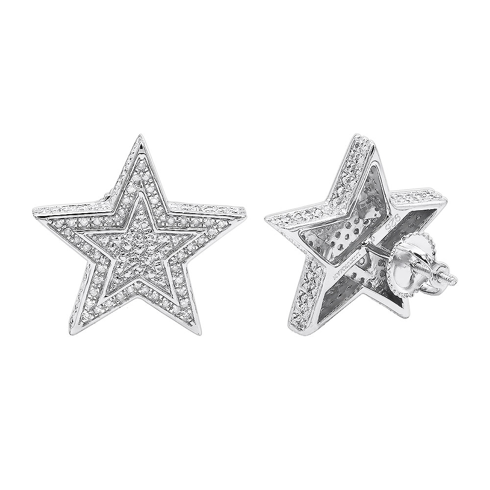 Large Diamond Star Earrings 0.20ct Sterling Silver Main Image