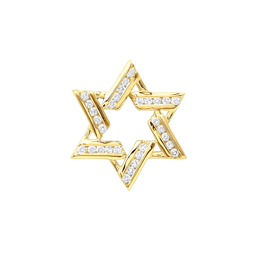 Diamond Star of David Pendant 0.45ct 14k Gold Yellow Image