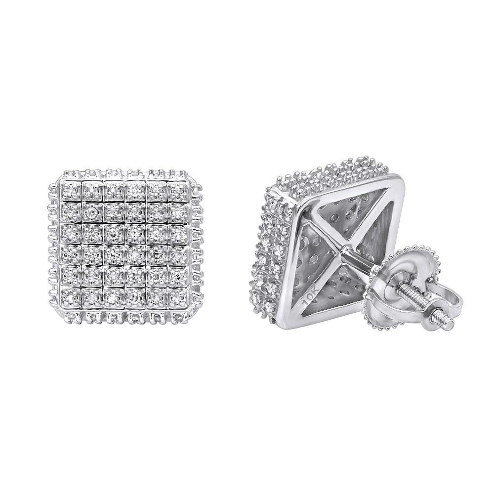 Pave Diamond Stud Earrings Under 300 - 10K Gold Square Studs 0.33ct White Image