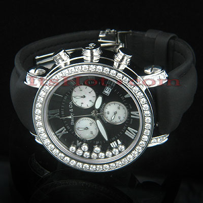 Floating Diamond Watch By Benny Co 4ct Mens Black