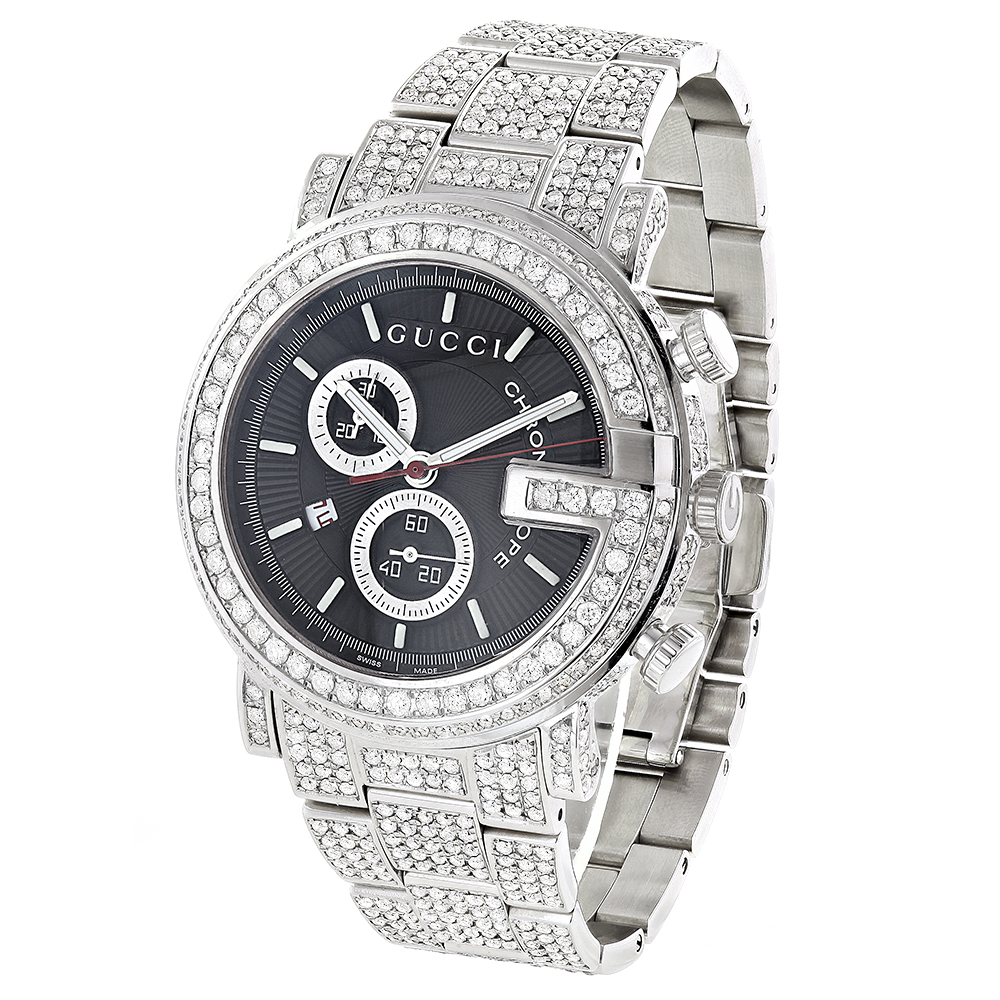 genuine mens gucci chrono diamond watch 15 ct. Black Bedroom Furniture Sets. Home Design Ideas