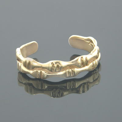 Gold Body Jewelry 14K Solid Gold Toe Ring Bamboo Motif