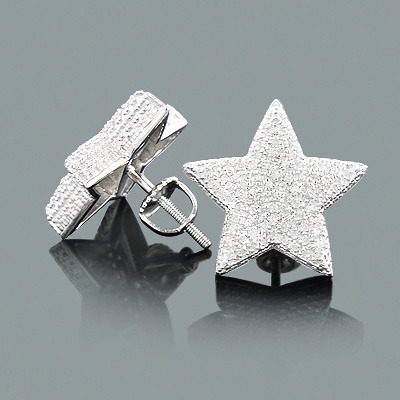 hip hop jewelry diamond star earrings sterling silver